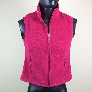 LL Bean Womens Fleece Polartec Vest Red Zip Up